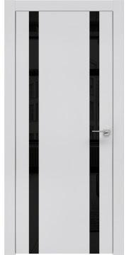 Межкомнатная дверь, ZM008 (экошпон светло-серый, лакобель черный, алюминиевая кромка)