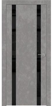 Межкомнатная дверь ZM008 (экошпон «бетон» / лакобель черный) — 0927