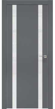 Межкомнатная дверь ZM008 (экошпон «графит» / лакобель белый) — 0929