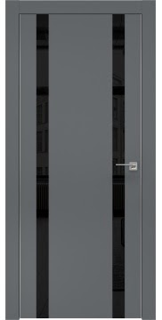 Межкомнатная дверь ZM008 (экошпон «графит» / лакобель черный) — 0932