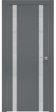 Межкомнатная дверь, ZM008 (экошпон графит, лакобель светло-серый, алюминиевая кромка)
