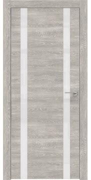 Межкомнатная дверь, ZM008 (экошпон серый дуб патина, лакобель белый, алюминиевая кромка)