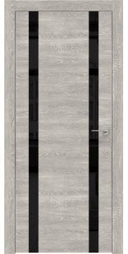 Межкомнатная дверь ZM008 (экошпон «серый дуб патина» / лакобель черный) — 0619