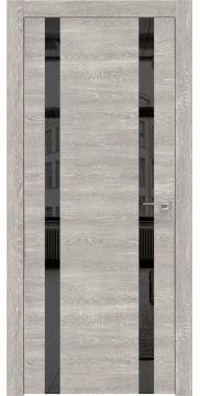 Межкомнатная дверь, ZM008 (экошпон серый дуб патина, зеркало тонированное, алюминиевая кромка)