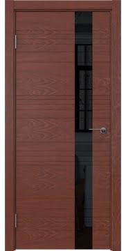 Межкомнатная дверь, ZM009 (шпон красное дерево, лакобель черный)