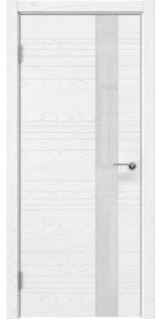 Остекленная дверь, ZM009 (шпон белый ясень, лакобель белый)