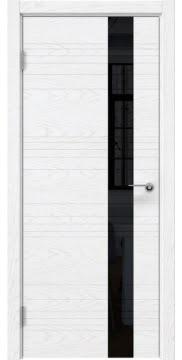 Межкомнатная дверь, ZM009 (шпон белый ясень, лакобель черный)