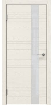 Межкомнатная дверь, ZM009 (шпон ясень слоновая кость, лакобель белый)