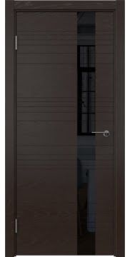 Межкомнатная дверь модерн ZM009 (шпон ясень темный, лакобель черный)