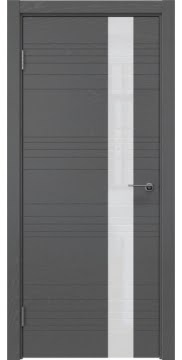 Межкомнатная дверь, ZM009 (шпон ясень серый, лакобель белый)