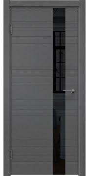 Межкомнатная дверь, ZM009 (шпон ясень серый, лакобель черный)