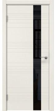Межкомнатная дверь, ZM009 (эмаль слоновая кость, лакобель черный)