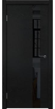 Дверь со стеклянной вставкой, эмаль по шпону, ZM012 (ясень черный, лакобель)