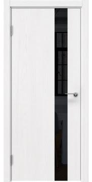 Межкомнатная дверь ZM012 (шпон ясень белый вертикальный / лакобель черный) — 5885