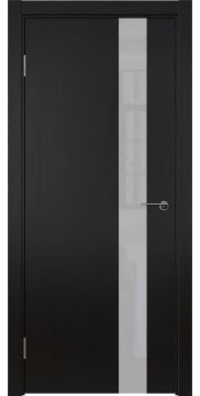 Межкомнатная дверь ZM012 (шпон ясень черный вертикальный / лакобель белый) — 5886