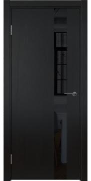 Межкомнатная дверь, ZM012 (шпон ясень черный вертикальный, лакобель черный)