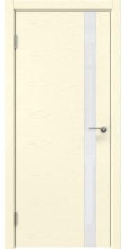 Шпонированная межкомнатная дверь ZM012 (шпон ясень ваниль, лакобель белый)