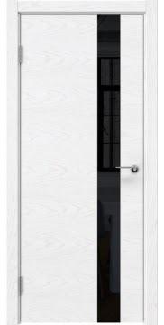 Межкомнатная дверь ZM012 (шпон ясень белый) / лакобель черный) — 5318