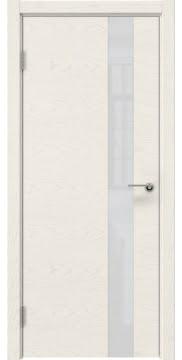 Дверь модерн ZM012 (шпон ясень слоновая кость, лакобель белый)