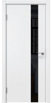 Межкомнатная дверь, ZM012 (эмаль белая, лакобель черный)