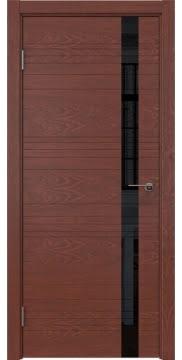 Межкомнатная дверь ZM014 (шпон красное дерево / лакобель черный) — 5350