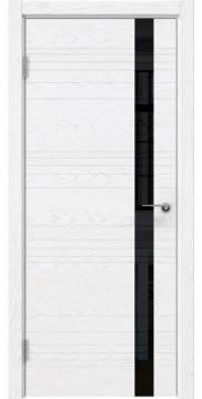 Дверь ZM014 (шпон белый ясень, лакобель черный)