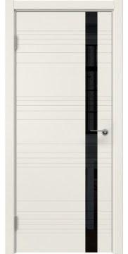 Межкомнатная дверь, ZM014 (эмаль слоновая кость, лакобель черный)