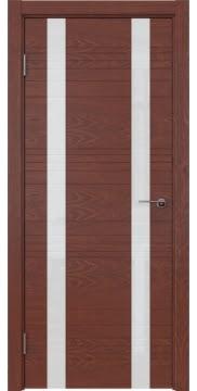 Межкомнатная дверь, ZM015 (шпон красное дерево, лакобель белый)