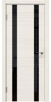 Межкомнатная дверь ZM015 (шпон ясень слоновая кость / лакобель черный) — 5374