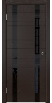 Межкомнатная дверь, ZM015 (шпон ясень темный, лакобель черный)