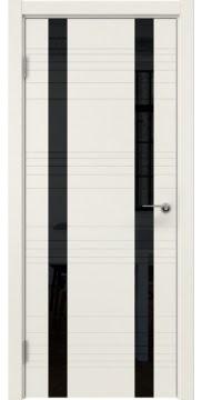 Межкомнатная дверь, ZM015 (эмаль слоновая кость, лакобель черный)
