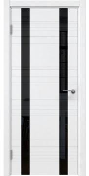 Межкомнатная дверь, ZM015 (эмаль белая, лакобель черный)