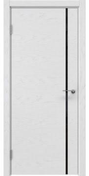 Межкомнатная дверь, ZM016 (шпон светлый ясень, лакобель черный)