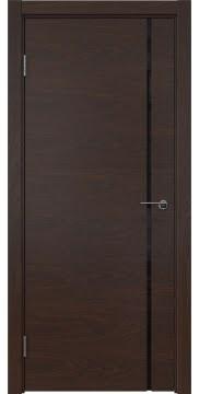 Межкомнатная дверь, ZM016 (шпон дуб коньяк, триплекс черный)
