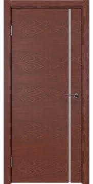 Межкомнатная дверь, ZM016 (шпон красное дерево, триплекс белый)