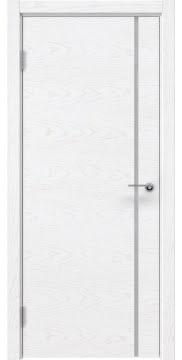 Межкомнатная дверь, ZM016 (шпон белый ясень, триплекс белый)