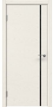 Межкомнатная дверь, ZM016 (шпон ясень слоновая кость, триплекс черный)