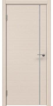 Межкомнатная дверь, ZM016 (шпон беленый дуб, триплекс белый)