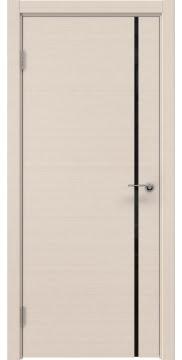 Межкомнатная дверь, ZM016 (шпон беленый дуб, триплекс черный)