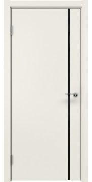 Межкомнатная дверь, ZM016 (эмаль слоновая кость, триплекс черный)