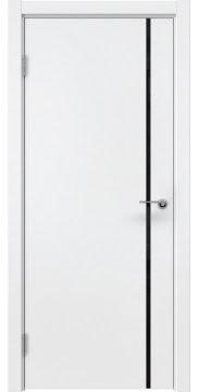 Межкомнатная дверь, ZM016 (эмаль белая, триплекс черный)