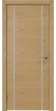 Межкомнатная дверь, ZM017 (шпон дуб натуральный, триплекс белый)