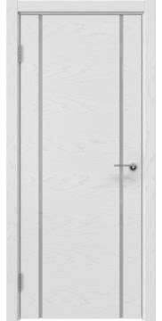 Межкомнатная дверь, ZM017 (шпон светлый ясень, лакобель белый)