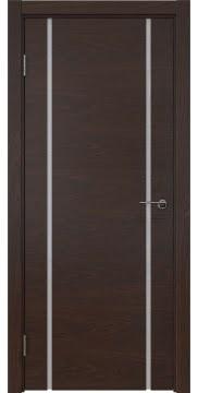 Межкомнатная дверь, ZM017 (шпон дуб коньяк, триплекс белый)