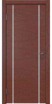 Межкомнатная дверь, ZM017 (шпон красное дерево, триплекс белый)