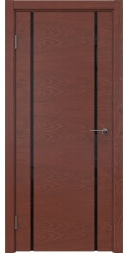 Межкомнатная дверь, ZM017 (шпон красное дерево, триплекс черный)