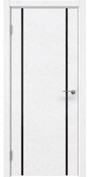 Межкомнатная дверь ZM017 (шпон ясень белый) / триплекс черный) — 5436