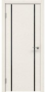 Межкомнатная дверь ZM017 (шпон ясень слоновая кость / триплекс черный) — 5438