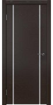 Межкомнатная дверь ZM017 (шпон ясень темный / триплекс белый) — 5439
