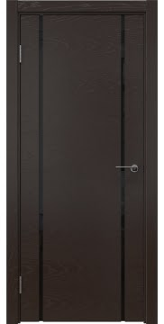 Межкомнатная дверь ZM017 (шпон ясень темный / триплекс черный) — 5440